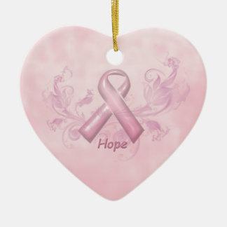 Ornamento de la conciencia del cáncer de pecho de adorno navideño de cerámica en forma de corazón