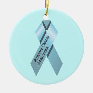 Ornamento de la conciencia del cáncer de próstata adorno navideño redondo de cerámica