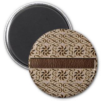 Ornamento de la Cuero-Mirada suave Imán Redondo 5 Cm