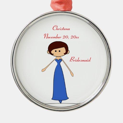 Ornamento de la dama de honor de los caracteres adorno navideño redondo de metal