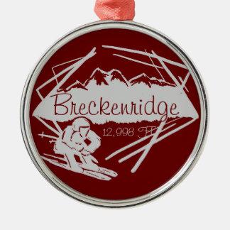 Ornamento de la elevación del esquí de adorno navideño redondo de metal