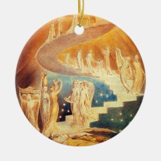 Ornamento de la escalera de Guillermo Blake Jacob Adorno Navideño Redondo De Cerámica