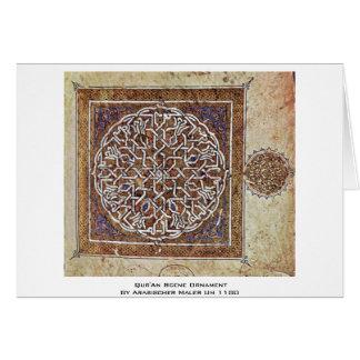 Ornamento de la escena de Qur'An de Arabischer Mal Tarjeta De Felicitación