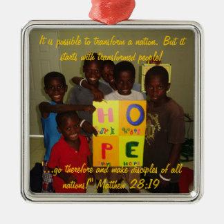 Ornamento de la esperanza adorno navideño cuadrado de metal
