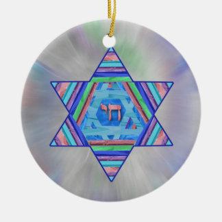 Ornamento de la estrella de Jánuca de las rayas Adorno Navideño Redondo De Cerámica
