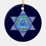 Ornamento de la estrella de Jánuca de las rayas de Ornamento De Navidad