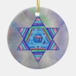 Ornamento de la estrella de Jánuca de las rayas Ornamento De Navidad