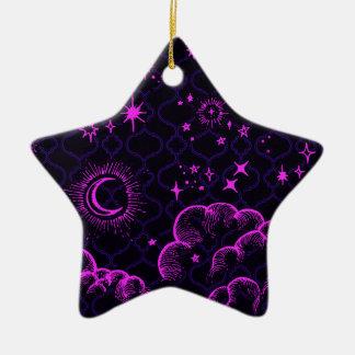 """Ornamento de la estrella de la """"luna y de las adorno navideño de cerámica en forma de estrella"""