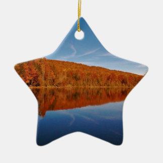 Ornamento de la estrella de la montaña de las adorno navideño de cerámica en forma de estrella