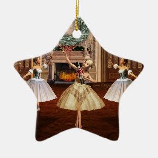 Ornamento de la estrella de las Felices Navidad Ornamento De Navidad