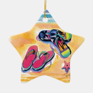 Ornamento de la estrella de los balanceos adorno navideño de cerámica en forma de estrella