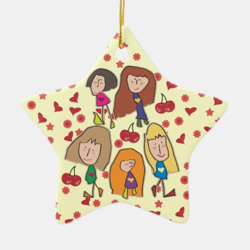 Ornamento de la estrella de los chicas del dibujo adorno navideño de cerámica en forma de estrella