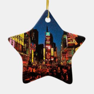 Ornamento de la estrella de New York City Adorno De Cerámica En Forma De Estrella