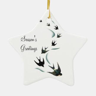 Ornamento de la estrella del arte de los pájaros adorno navideño de cerámica en forma de estrella