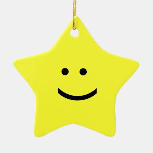 Ornamento de la estrella del Emoticon - sonrisa Adorno Navideño De Cerámica En Forma De Estrella