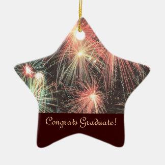 Ornamento de la estrella del graduado de Congrats Adorno Navideño De Cerámica En Forma De Estrella