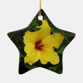 Ornamento de la estrella del hibisco adorno navideño de cerámica en forma de estrella