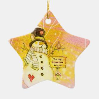 Ornamento de la estrella del muñeco de nieve del adorno de cerámica en forma de estrella