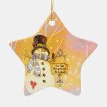 Ornamento de la estrella del muñeco de nieve del m adorno