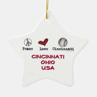 Ornamento de la estrella del navidad de Cincinnati Adorno Navideño De Cerámica En Forma De Estrella