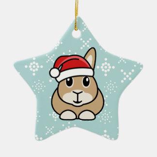 Ornamento de la estrella del navidad del conejo adorno navideño de cerámica en forma de estrella