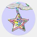 Ornamento de la estrella del navidad en rama pegatina