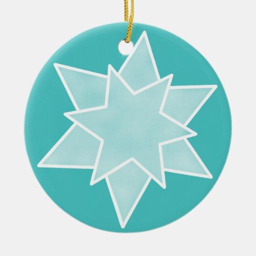 Ornamento de la estrella del navidad, turquesa ornato