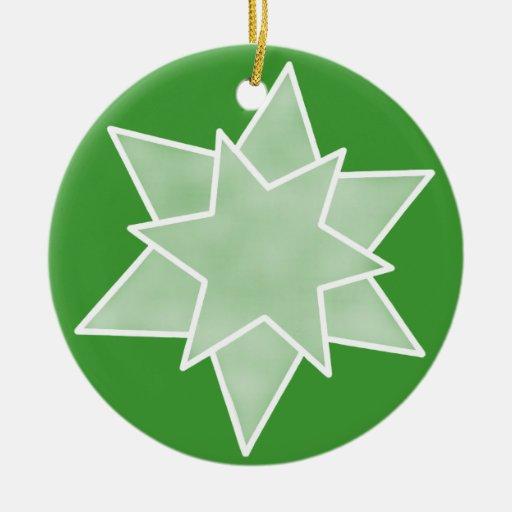 Ornamento de la estrella del navidad, verde ornamentos de reyes