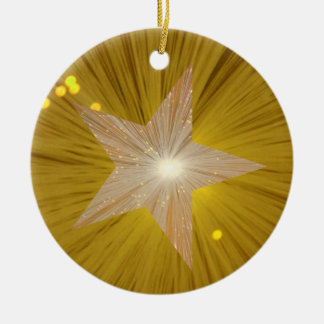 Ornamento de la estrella del oro redondo adorno