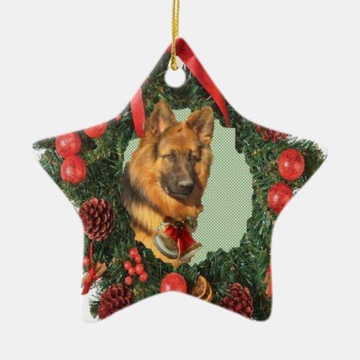 Ornamento de la estrella del pastor alemán adorno navideño de cerámica en forma de estrella