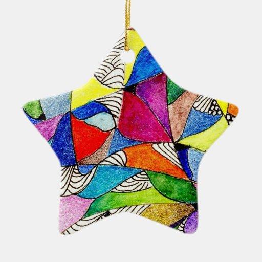 Ornamento de la estrella del vitral adorno navideño de cerámica en forma de estrella