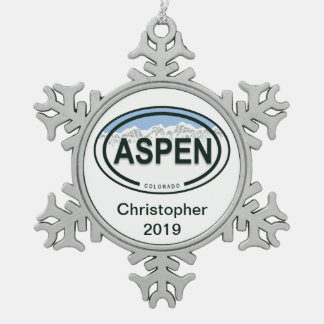 Ornamento de la etiqueta de la montaña de Aspen Adorno De Peltre En Forma De Copo De Nieve