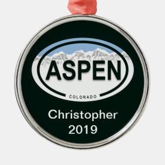Ornamento de la etiqueta de la montaña de Aspen Adorno Redondo Plateado