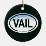 Ornamento de la etiqueta de la montaña de Vail Adorno Redondo De Cerámica