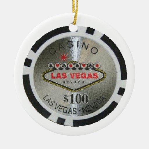Ornamento de la ficha de póker del casino de las F Ornamentos De Navidad