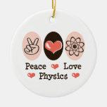 Ornamento de la física del amor de la paz adornos de navidad