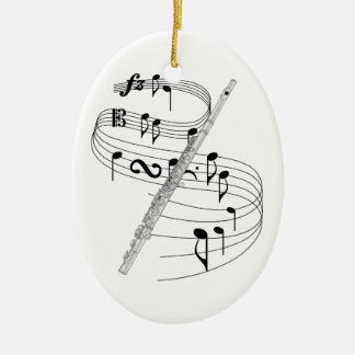 Ornamento de la flauta adorno navideño ovalado de cerámica
