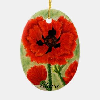 Ornamento de la flor con los popies rojos adorno navideño ovalado de cerámica