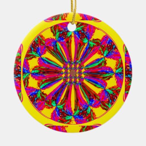 Ornamento de la flor de la pasión adorno navideño redondo de cerámica