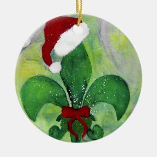 Ornamento de la flor de lis del navidad de Santa Adorno Navideño Redondo De Cerámica