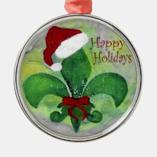 Ornamento de la flor de lis del navidad de Santa Adorno Navideño Redondo De Metal