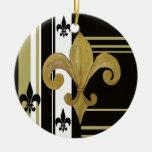 Ornamento de la flor de lis del negro y del oro adornos de navidad
