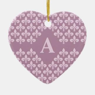 Ornamento de la flor de lis, personalizar adorno navideño de cerámica en forma de corazón