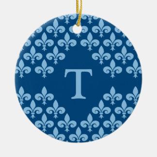 Ornamento de la flor de lis, personalizar adorno navideño redondo de cerámica