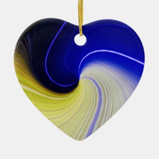 Ornamento de la flor del espacio adorno navideño de cerámica en forma de corazón