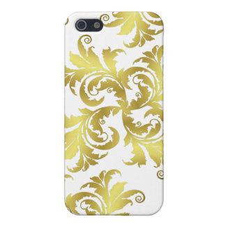 Ornamento de la flor del oro iPhone 5 funda