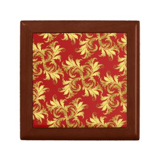 Ornamento de la flor del oro joyero cuadrado pequeño
