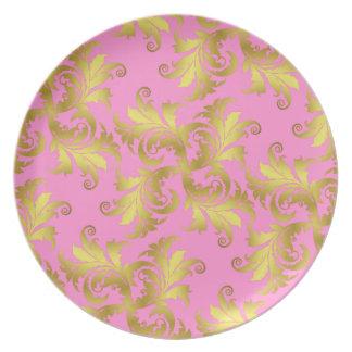 Ornamento de la flor del oro plato de comida