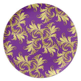 Ornamento de la flor del oro plato para fiesta