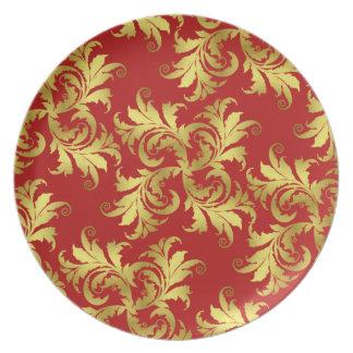 Ornamento de la flor del oro platos